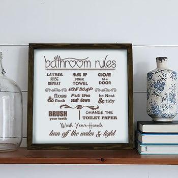 Tablou Bathroom Rules, 34 x 34 cm bonami.ro