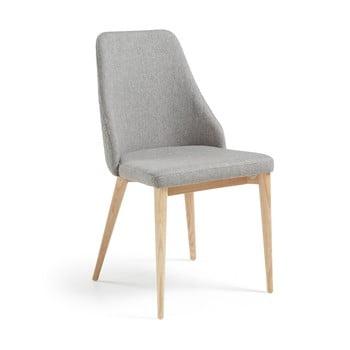 Set 2 scaune cu picioare de lemn La Forma Roxie, gri deschis imagine