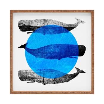 Tavă decorativă din lemn Whale, 40x40cm bonami.ro