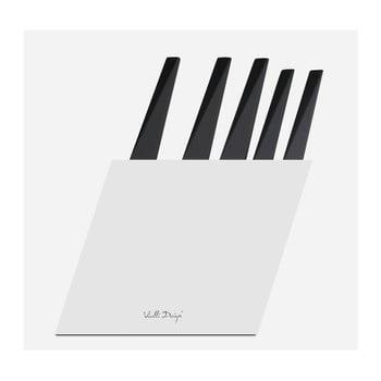 Set 5 cutite cu suport Vialli Design Volo, alb