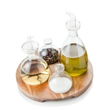 Set 4 recipiente pentru condimente cu suport din lemn de salcâm Brandani Verr bonami.ro