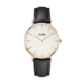 Ceas damă cu curea din piele și detalii roz aurii Cluse La Bohéme, negru mat bonami.ro