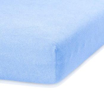 Cearceaf elastic AmeliaHome Ruby, 200 x 80-90 cm, albastru deschis poza bonami.ro