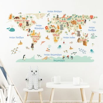 Autocolant de perete Ambiance Pastel World Map poza bonami.ro