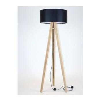 Lampadar cu abajur negru și cablu alb-negru Ragaba Wanda bonami.ro