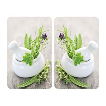 Set 2 protecții din sticlă pentru aragaz Wenko Herbal,52x30cm poza bonami.ro