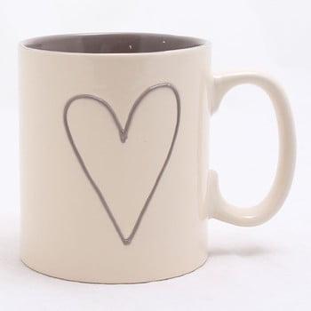 Cană ceramică decorată manual Dakls Heart Light, 600 ml, bej poza bonami.ro