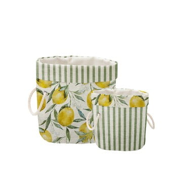 Set 2 coșuri decorative Linen Lemons And Stripes poza bonami.ro
