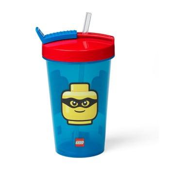 Pahar cu capac roșu și pai LEGO® Iconic, 500 ml, albastru poza bonami.ro