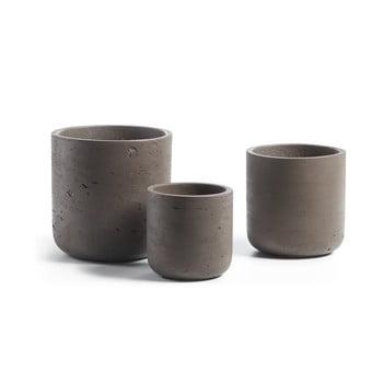 Set 3 ghivece din ciment La Forma Lux, maro închis bonami.ro