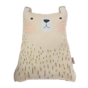 Pernă din amestec de bumbac pentru copii Mike&Co.NEWYORK Pillow Toy Bear Cute, 22 x 30 cm, maro poza bonami.ro