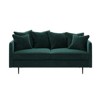 Canapea cu tapițerie din catifea Ghado Esme, 176 cm, verde - turcoaz închis imagine