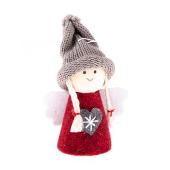 Decorațiune textilă suspendată Dakls, lungime 9 cm, roșu, înger bonami.ro
