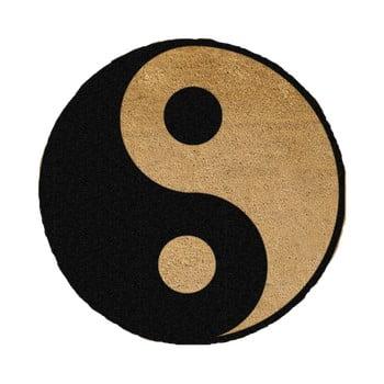Covoraș intrare rotund fibre de cocos Artsy Doormats Yin Yang, ⌀ 70 cm, negru bonami.ro
