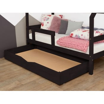 Sertar negru din lemn cu somieră pentru pat BenlemiBuddy, 120x180cm