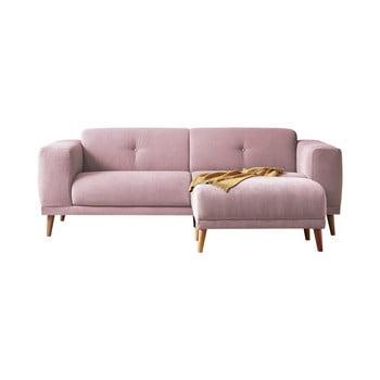 Canapea cu 3 locuri și taburet Bobochic Paris Luna, roz