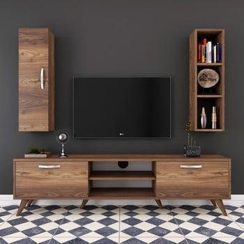 Set comodă TV cu dulap și raft de perete Wren Nut, natural imagine