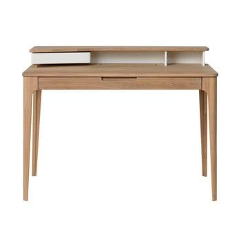 Birou din lemn de stejar alb Unique Furniture Amalfi,120x60cm imagine