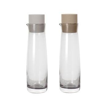 Set 2 sticle pentru oțet și ulei cu capac de silicon Blomus Basic, crem poza bonami.ro
