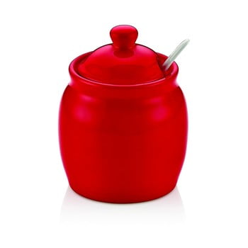 Recipient din porțelan cu capac pentru zahăr Vivianos, roșu poza bonami.ro