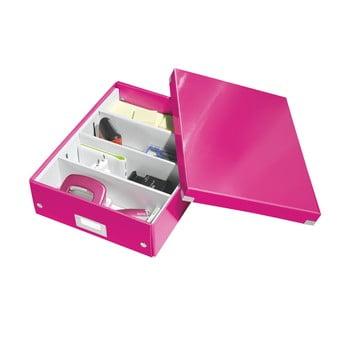 Cutie cu organizator Leitz Office, lungime 37 cm, roz bonami.ro