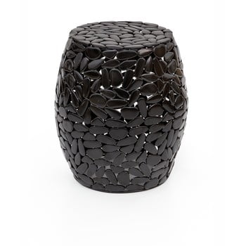 Taburet WOOX LIVING Floral, ⌀ 40 cm, negru bonami.ro