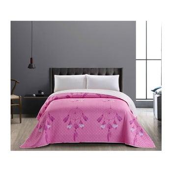 Cuvertură cu 2 fețe din microfibră DecoKing Sweet Dreams, 240 x 260 cm, roz-alb bonami.ro