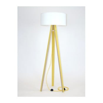 Lampadar cu abajur alb și cablu galben Ragaba Wanda, galben imagine