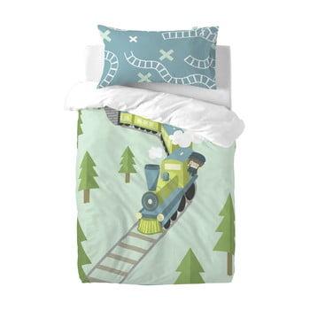 Lenjerie de pat din amestec de bumbac pentru copii Happynois Train, 115x145cm bonami.ro