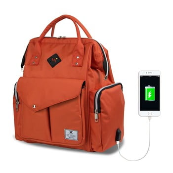 Rucsac maternitate cu port USB My Valice HAPPY MOM Baby Care, portocaliu bonami.ro