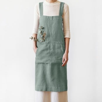 Șorț din in Linen Tales Crossback, lungime 80cm, verde bonami.ro