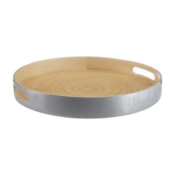Tavă servire din bambus Premier Housewares, ⌀ 35 cm, argintiu poza bonami.ro