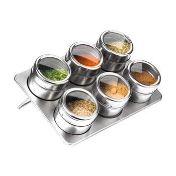 Set 6 recipiente magnetice cu suport pentru condimente Premier Housewares, 100 ml bonami.ro