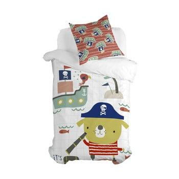 Lenjerie de pat din bumbac pentru copii Moshi Moshi Pirate, 140 x 200 cm poza bonami.ro