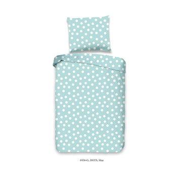 Lenjerie de pat din bumbac pentru copii Good Morning Dots, 120 x 150 cm, albastru poza bonami.ro