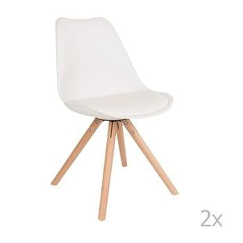 Set 2 scaune cu picioare din lemn de fag White Label Tryck, alb imagine