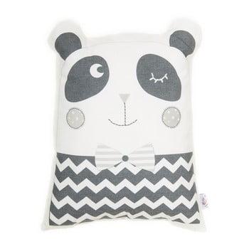 Pernă din amestec de bumbac pentru copii Mike&Co.NEWYORK Pillow Toy Panda, 25 x 36 cm, gri bonami.ro