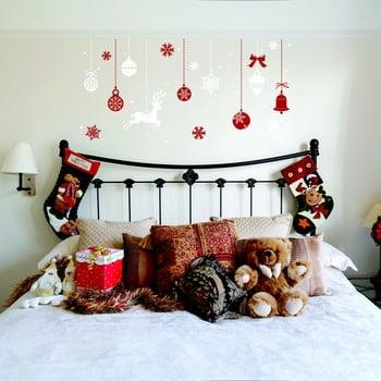 Autocolant Crăciun Ambiance Red and White Snowflakes poza bonami.ro
