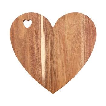 Tocător din lemn de acacia în formă de inimă Premier Housewares Socorro, 30 x 28 cm, margine roz bonami.ro