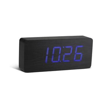 Ceas deșteptător cu LED Gingko Slab Click Clock, negru - albastru bonami.ro