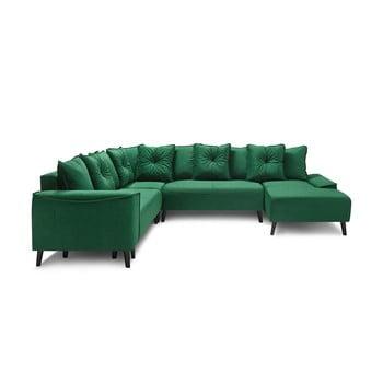 Canapea extensibilă cu șezlong cu husă din catifea în formă de U Bobochic Paris Hera, pe partea dreaptă, verde poza bonami.ro
