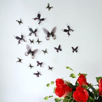 Set 18 autocolante 3D Ambiance Butterflies Chic, negru bonami.ro
