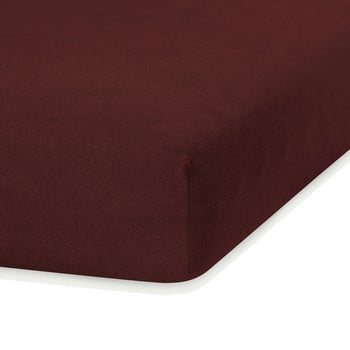 Cearceaf elastic AmeliaHome Ruby, 200 x 100-120 cm, maro închis poza bonami.ro