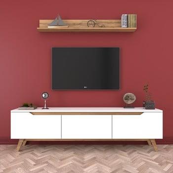 Set comodă TV cu 3 uși rabatabile și etajeră de perete Rani White, alb-natural poza bonami.ro