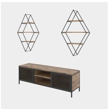 Set comodă TV și 2 rafturi de perete Kalune Design Prizma imagine