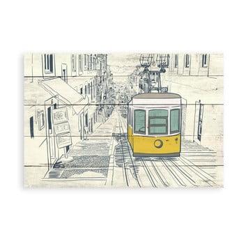 Tablou decorativ din lemn de pin Surdic Tabla Train, 40 x 60 cm bonami.ro