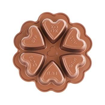 Formă pentru 6 prăjituri în formă de inimă Nordic Ware Valentine, 500 ml, arămiu bonami.ro