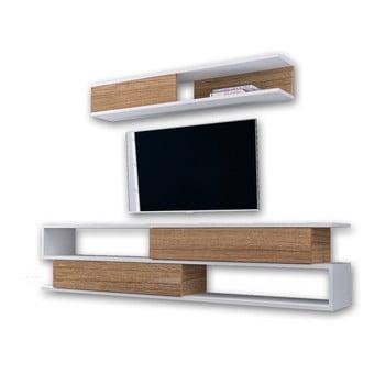 Set comodă TV și raft de perete cu aspect de lemn de nuc Furny Home Manyetik, alb imagine