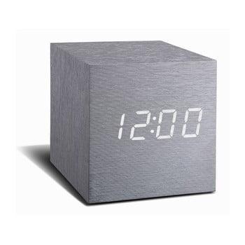 Ceas deșteptător cu LED Gingko Cube Click Clock, gri - alb bonami.ro