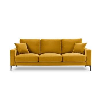 Canapea cu tapițerie din catifea Kooko Home Harmony, 220 cm, galben bonami.ro